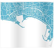 Cannes Map - Baby Blue Poster