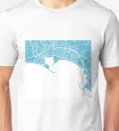 Cannes Map - Baby Blue Unisex T-Shirt