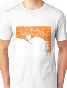 Cannes Map - Orange Unisex T-Shirt
