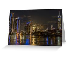 Full Moon rising over Surfers Paradise Greeting Card
