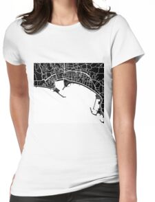 Cannes Map - Black Womens Fitted T-Shirt
