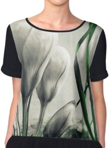 Crocus Flowers Decolored  Chiffon Top