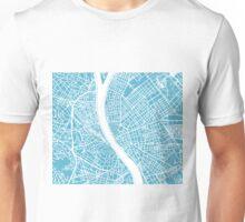 Budapest Map - Baby Blue Unisex T-Shirt