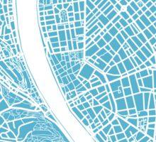Budapest Map - Baby Blue Sticker