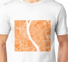 Budapest Map - Orange Unisex T-Shirt