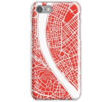 Budapest Map - Red iPhone Case/Skin
