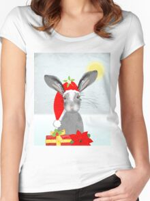 Cute Rabbit Christmas Holidays Themed Whimsy Design Women's Fitted Scoop T-Shirt