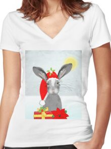 Cute Rabbit Christmas Holidays Themed Whimsy Design Women's Fitted V-Neck T-Shirt