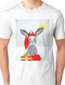 Cute Rabbit Christmas Holidays Themed Whimsy Design Unisex T-Shirt