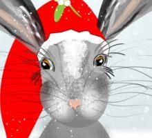 Cute Rabbit Christmas Holidays Themed Whimsy Design Sticker
