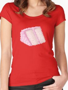 Pixel Food Series - Pink Cake Slice Women's Fitted Scoop T-Shirt
