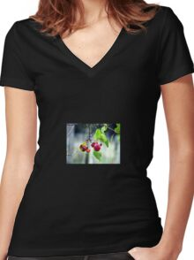 Garden Cherries Red Photography Women's Fitted V-Neck T-Shirt