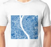 Budapest Map - Deep Blue Unisex T-Shirt