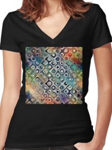 Colorful Circles Within Circles Women's Fitted V-Neck T-Shirt