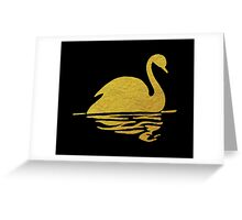 Gold Swan Reflection Greeting Card