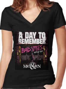 ADTR A DAY TO REMEMBER VIBES WORLD TOUR Women's Fitted V-Neck T-Shirt