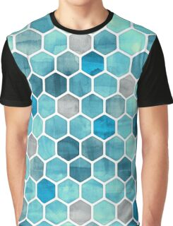 Blue Ink - Watercolor hexagon pattern Graphic T-Shirt