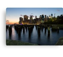 Manhattan Skyline @ Night Canvas Print