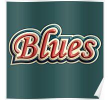 Vintage colorful blues Poster