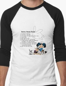 Bunny House Rules - Cartoon gift for Rabbit owners Men's Baseball ¾ T-Shirt