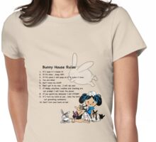 Bunny House Rules - Cartoon gift for Rabbit owners Womens Fitted T-Shirt