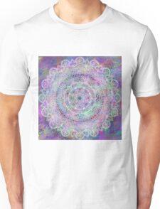 White Mandala on Pastel Purples Unisex T-Shirt
