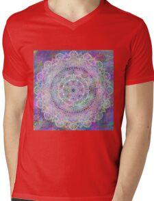 White Mandala on Pastel Purples Mens V-Neck T-Shirt