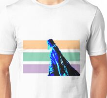 Damian Marley Blue Posterized with strips background Unisex T-Shirt
