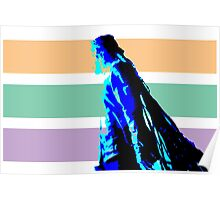 Damian Marley Blue Posterized with strips background Poster