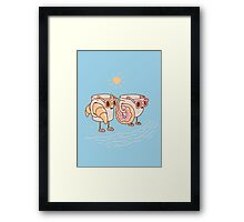 CUPS ON THE BEACH Framed Print