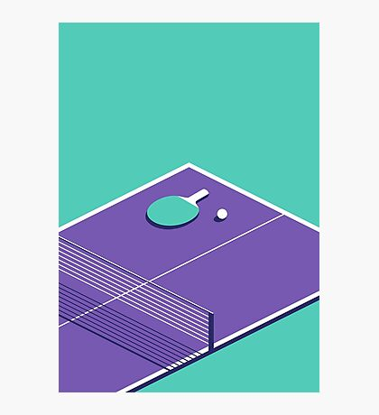 Table Tennis Isometric (Green Purple) Photographic Print