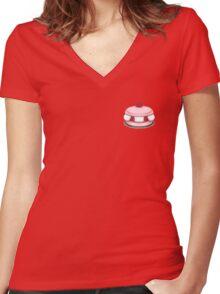 raspberry macaron illustration Women's Fitted V-Neck T-Shirt