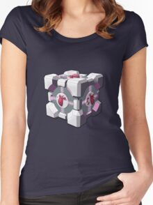 Companion cube has a heart Women's Fitted Scoop T-Shirt