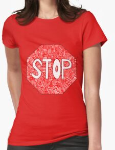 Stop Sign Zentangle  Womens Fitted T-Shirt