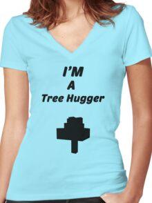 Minecraft, Tree hugger Women's Fitted V-Neck T-Shirt