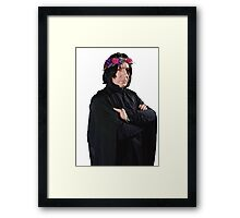 snape with flower crown Framed Print