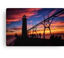 Sunset From the Pier - Grand Haven, Michigan Canvas Print