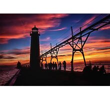 Sunset From the Pier - Grand Haven, Michigan Photographic Print