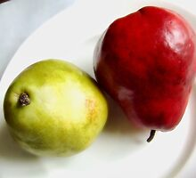 Red and Green Pears on a White Plate by LouiseK