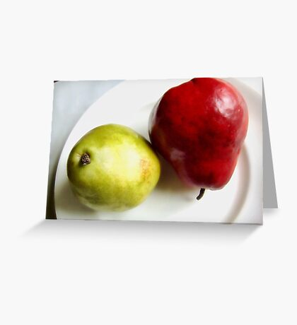 Red and Green Pears on a White Plate Greeting Card