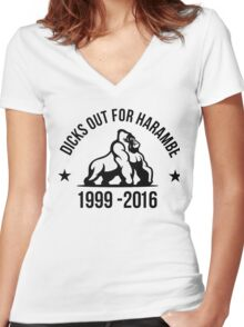 Dick Out For Harambe 1999 - 2016 Women's Fitted V-Neck T-Shirt