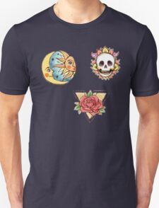 Watercolor Old School Tattoos // Roses, Skull, Moon And Sun Unisex T-Shirt