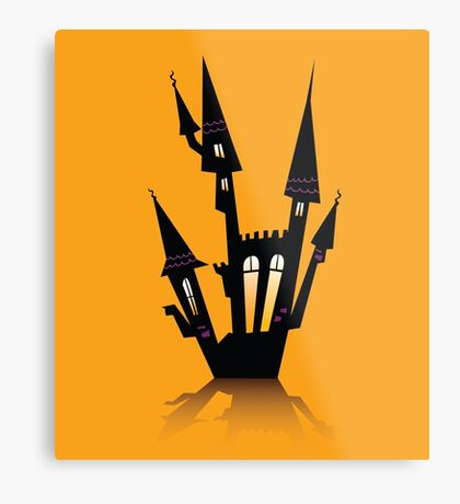 Vector - Halloween haunted house. Haunted house silhouette. Vector icon. Metal Print