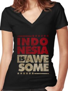 Indonesia Is Awesome Women's Fitted V-Neck T-Shirt