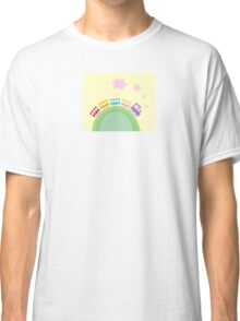 Cartoon train. Wonderful train is going through pastel country Classic T-Shirt