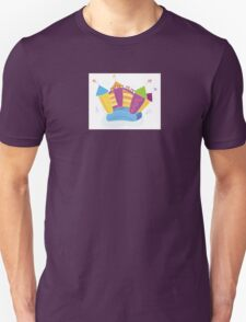 Vector bouncy castle. Vector Illustration of a bouncy castle with girl jumping on it Unisex T-Shirt
