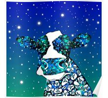 Space Cow Watercolor Art Poster
