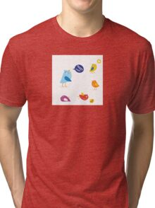 Colored twitter birds set. Twitter birds set in different colors Tri-blend T-Shirt