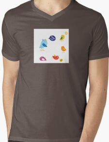 Colored twitter birds set. Twitter birds set in different colors Mens V-Neck T-Shirt