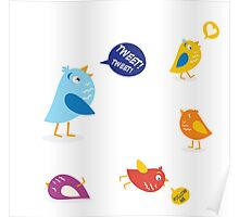 Colored twitter birds set. Twitter birds set in different colors Poster